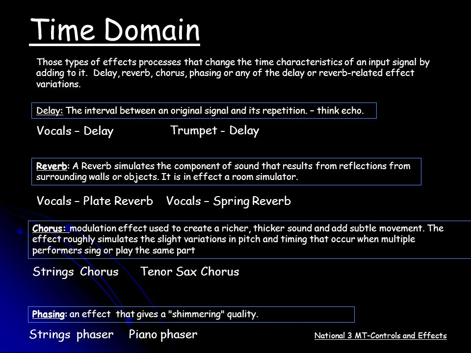Time Domain Those types of effects processes that change the time characteristics of an input signal by adding to it. Delay, reverb, chorus, phasing o