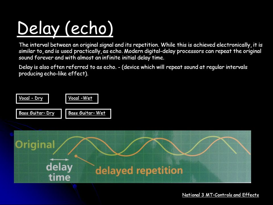 Delay (echo) The interval between an original signal and its repetition. While this is achieved electronically, it is similar to, and is used practica