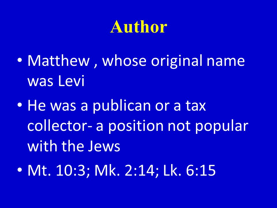 Division of N.T. Matthew is one of the 4 gospel accounts It is a biography