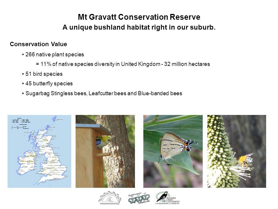 Mt Gravatt Conservation Reserve A unique bushland habitat right in our suburb. Conservation Value 266 native plant species = 11% of native species div