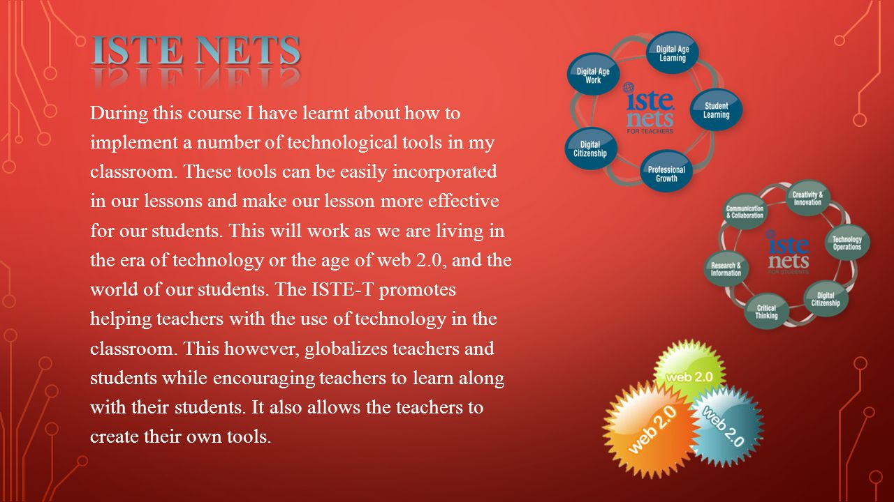 During this course I have learnt about how to implement a number of technological tools in my classroom.