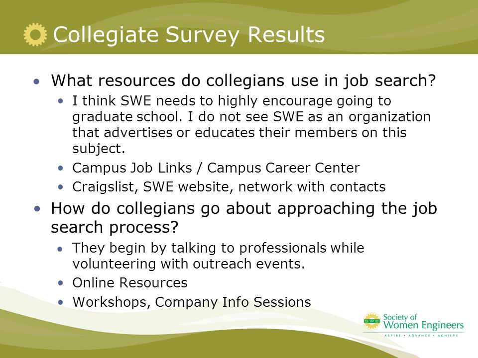 Collegiate Survey Results What resources do collegians use in job search? I think SWE needs to highly encourage going to graduate school. I do not se