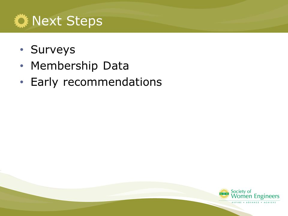 Next Steps Surveys Membership Data Early recommendations