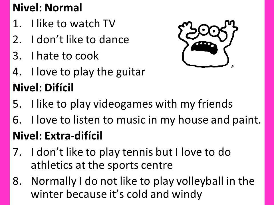 me gusta jugar al tenis en mi colegio/con mi padre porque es divertido pero no me gusta el ciclismo porque es aburrido.