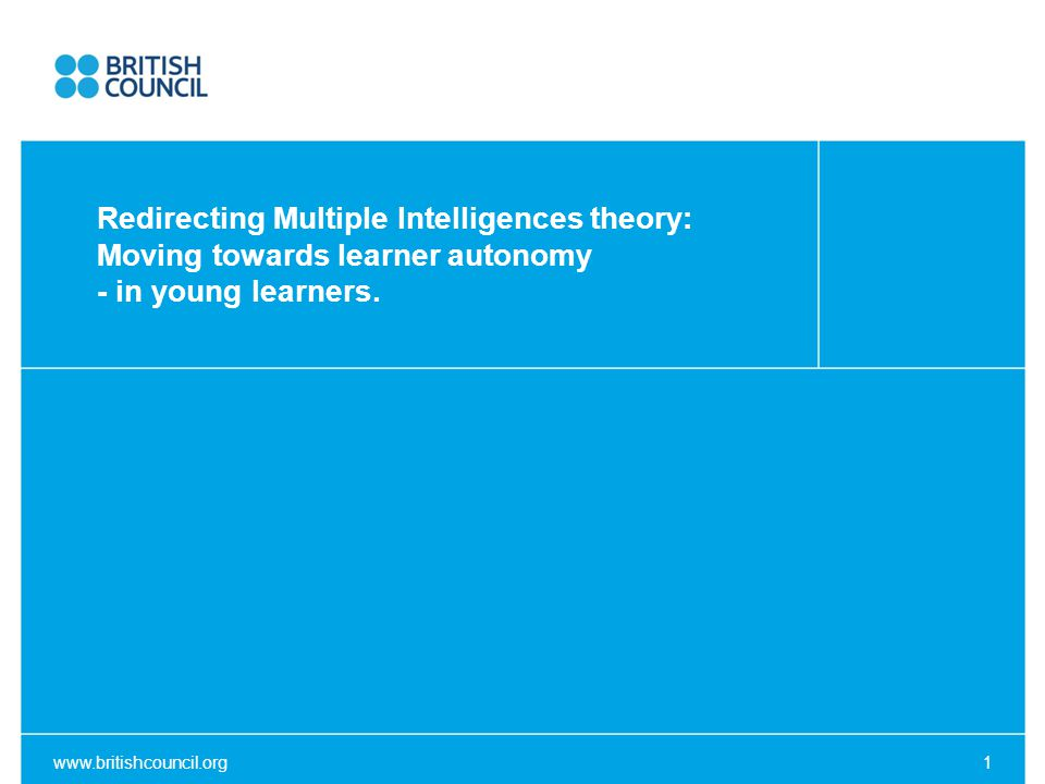 Overview ○ Learner Autonomy (LA) – definition and a very brief history ○ Agency within ELT and its relationship to LA ○ Intelligence in general and how it pertains to the individual ○ Multiple Intelligence theory applied to promote LA / agency www.britishcouncil.org2