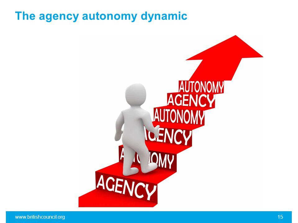 The agency autonomy dynamic www.britishcouncil.org15