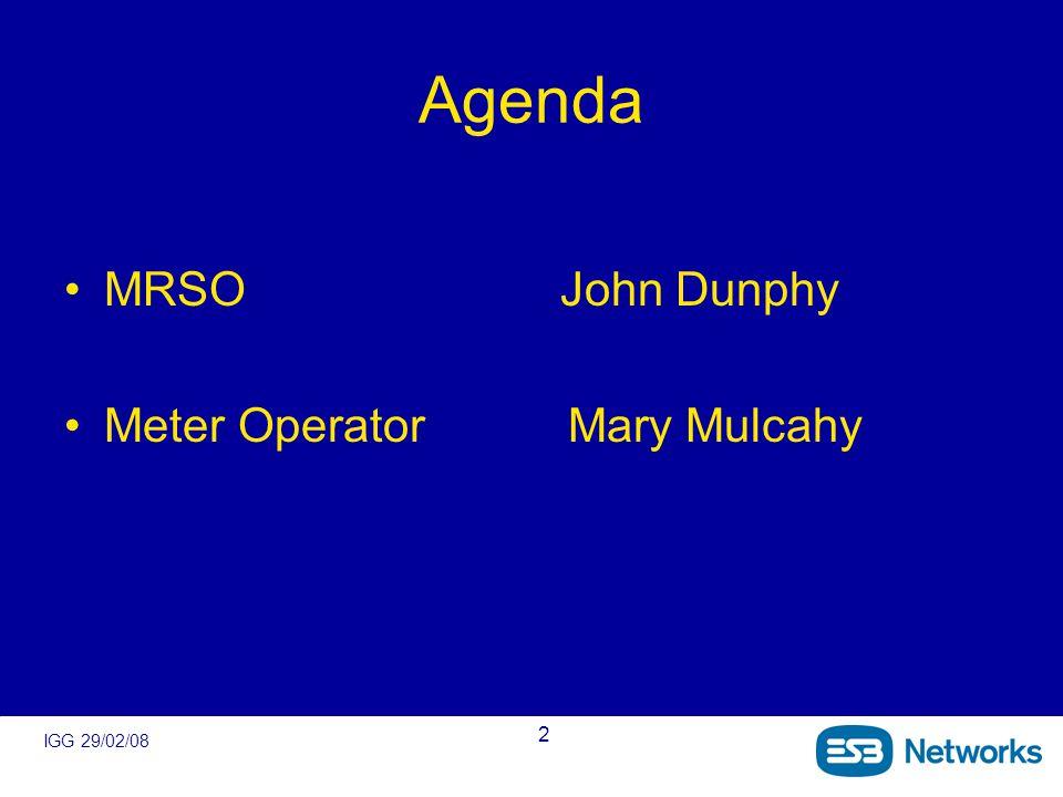 IGG 29/02/08 2 Agenda MRSO John Dunphy Meter Operator Mary Mulcahy