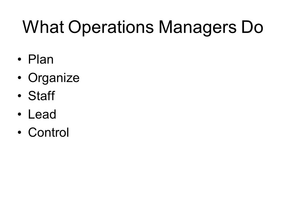 What Operations Managers Do Plan Organize Staff Lead Control