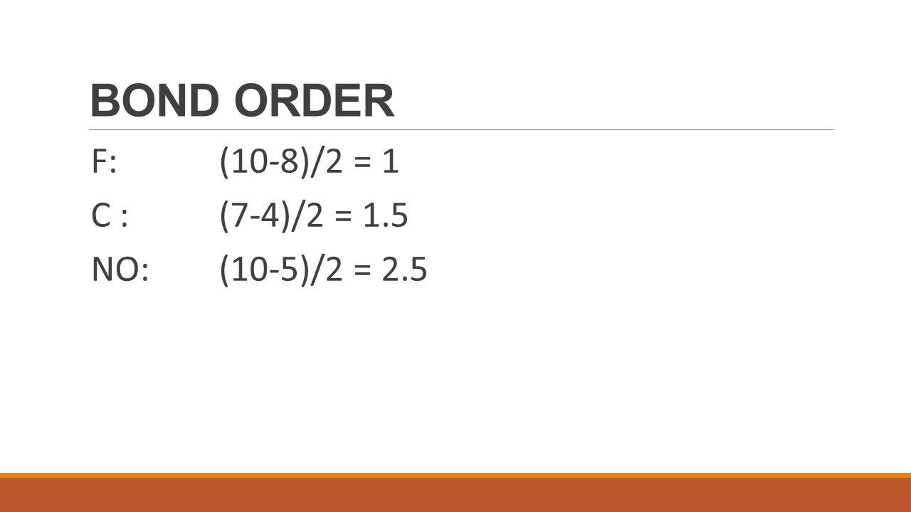 PRACTICE SEVEN N 2 electron configuration: 1s 2 2s 2 2p 3 Bond order = (10-4)/2 = 6 diamagnetic N N