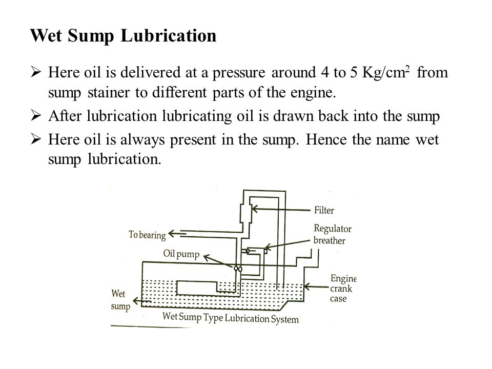Wet Sump Lubrication  Here oil is delivered at a pressure around 4 to 5 Kg/cm 2 from sump stainer to different parts of the engine.  After lubricati