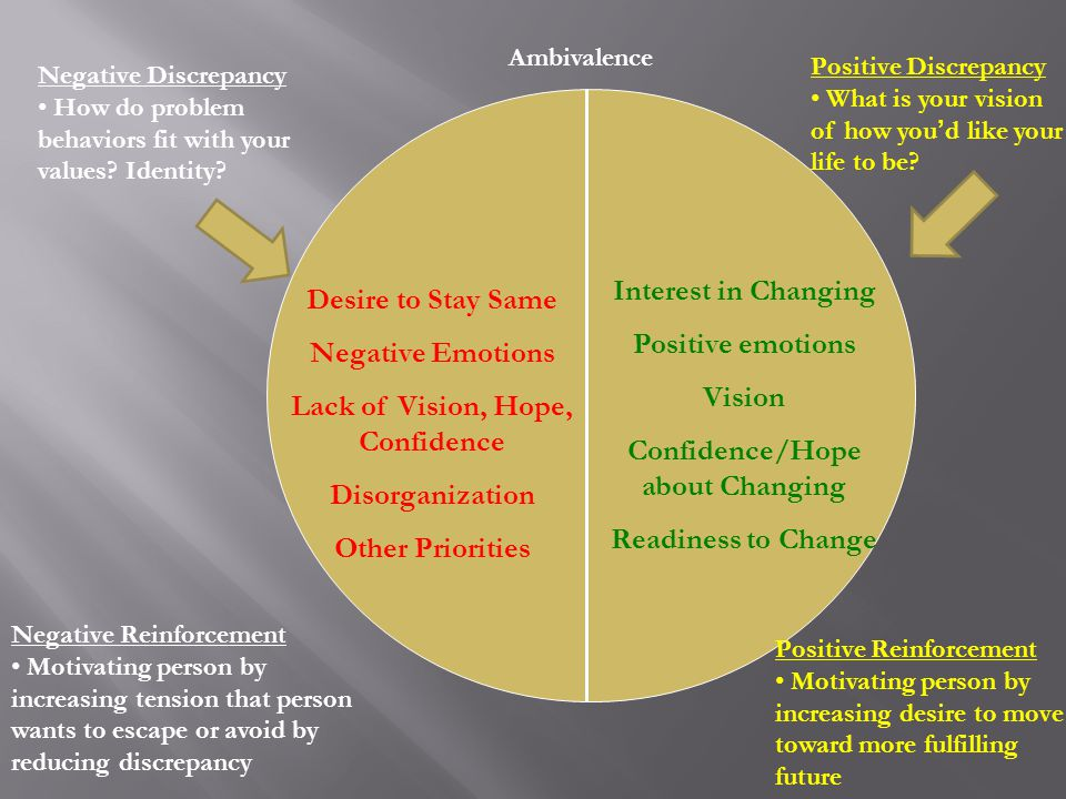 Desire to Stay Same Negative Emotions Lack of Vision, Hope, Confidence Disorganization Other Priorities Interest in Changing Positive emotions Vision