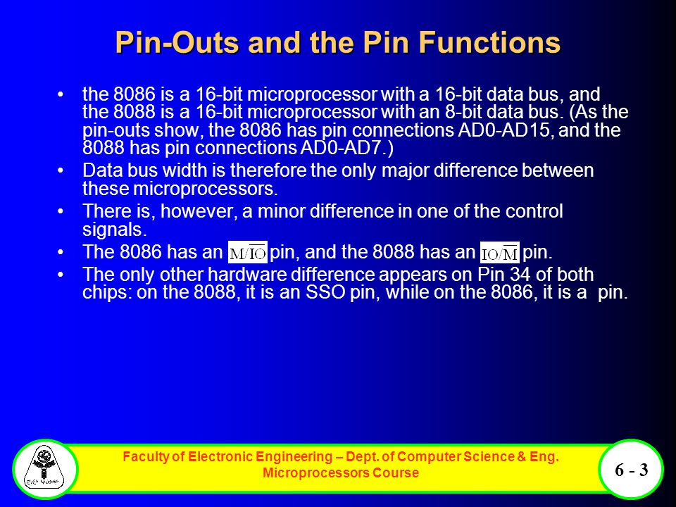 Faculty of Electronic Engineering – Dept. of Computer Science & Eng. Microprocessors Course 6 - 3 Pin-Outs and the Pin Functions the 8086 is a 16-bit