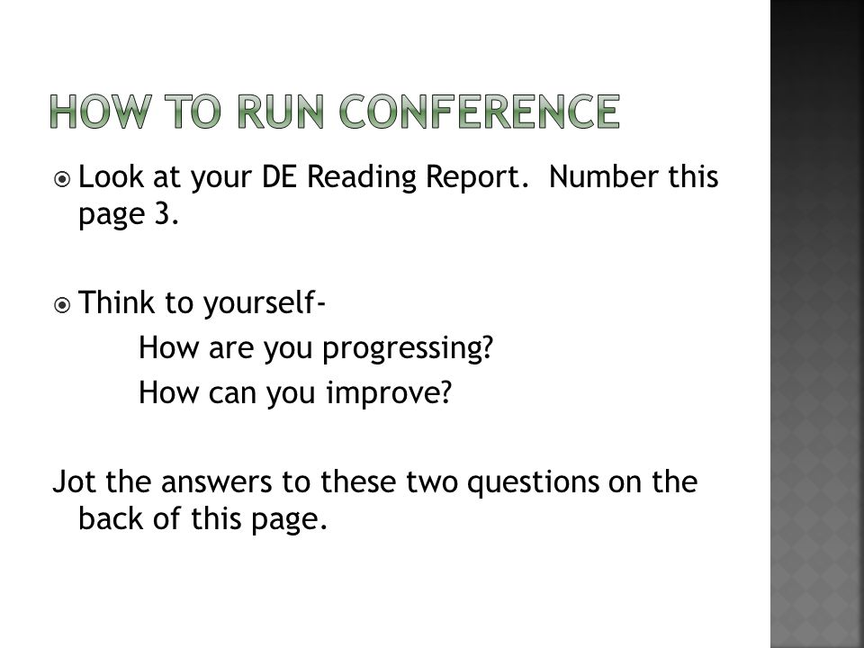  Look at your DE Reading Report. Number this page 3.