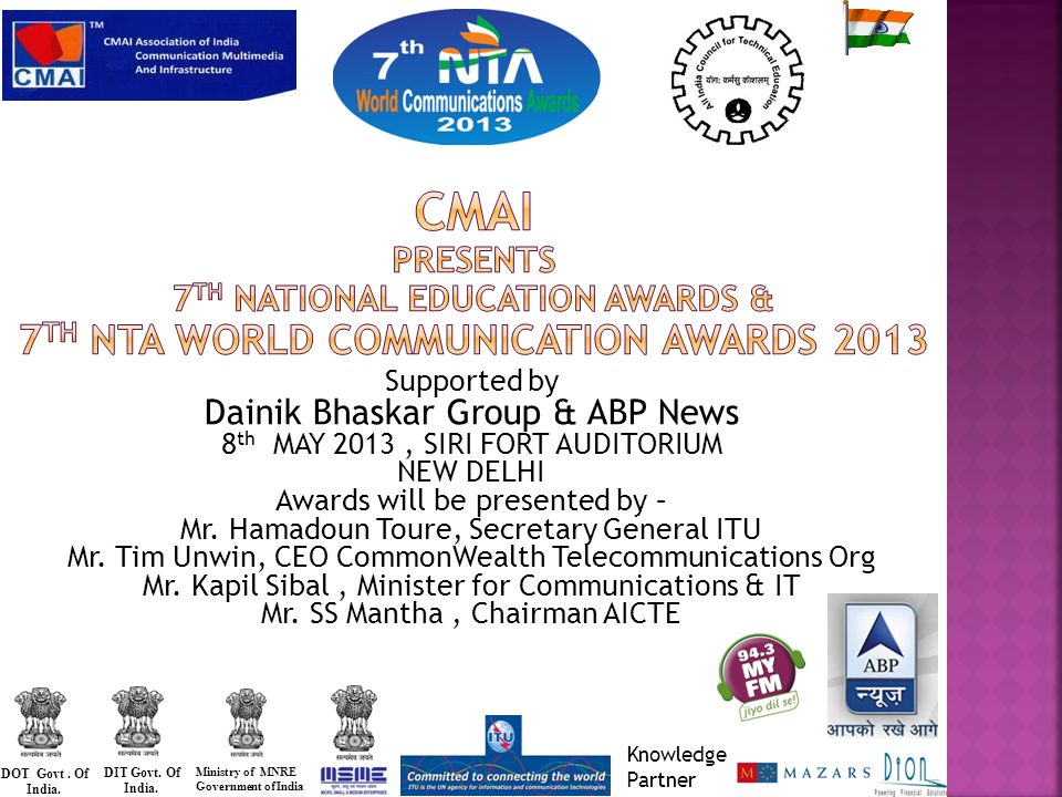 Supported by Dainik Bhaskar Group & ABP News 8 th MAY 2013, SIRI FORT AUDITORIUM NEW DELHI Awards will be presented by – Mr.