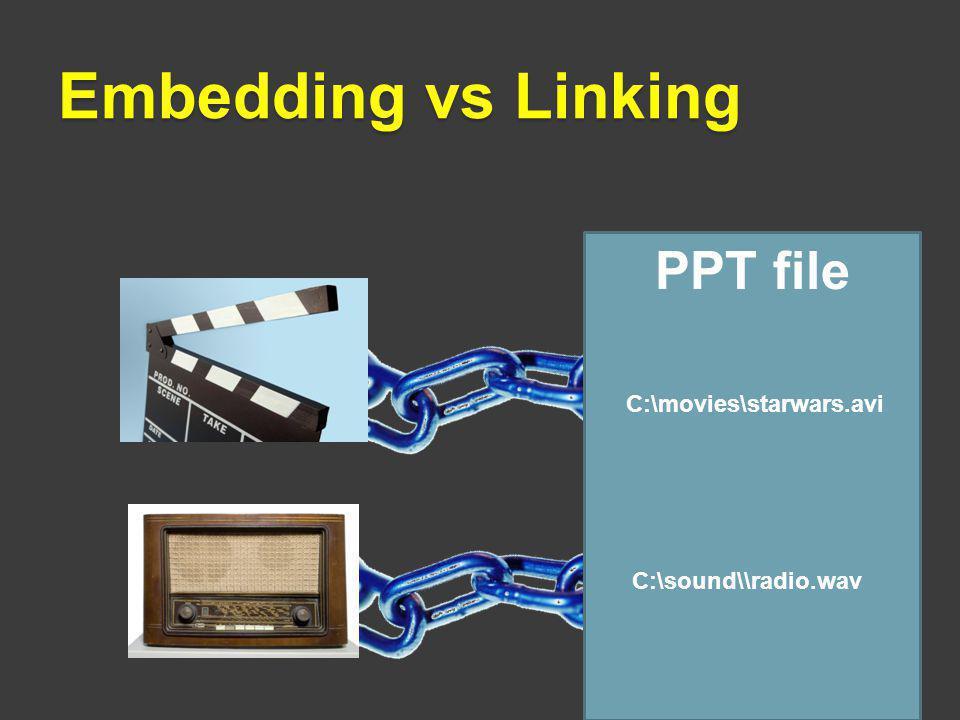 Embedding vs Linking PPT file C:\movies\starwars.avi C:\sound\\radio.wav