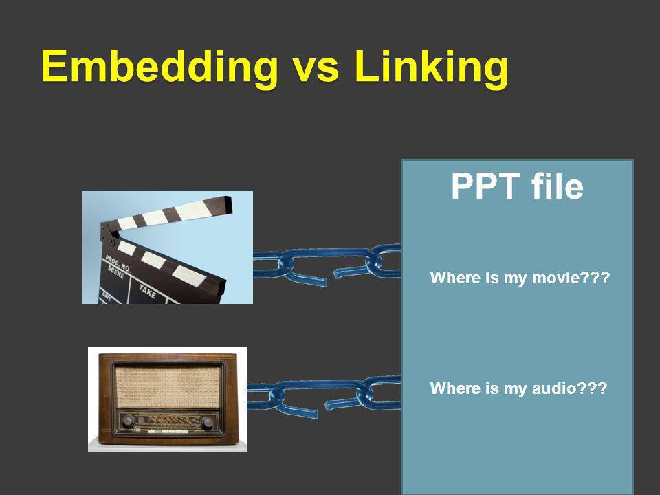 Embedding vs Linking PPT file Where is my movie??? Where is my audio???