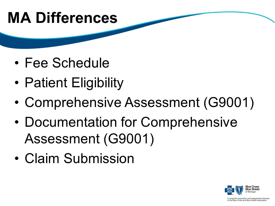 MA Differences Fee Schedule Patient Eligibility Comprehensive Assessment (G9001) Documentation for Comprehensive Assessment (G9001) Claim Submission