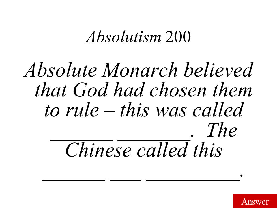 Answer Vocab 100 Absolute Monarch