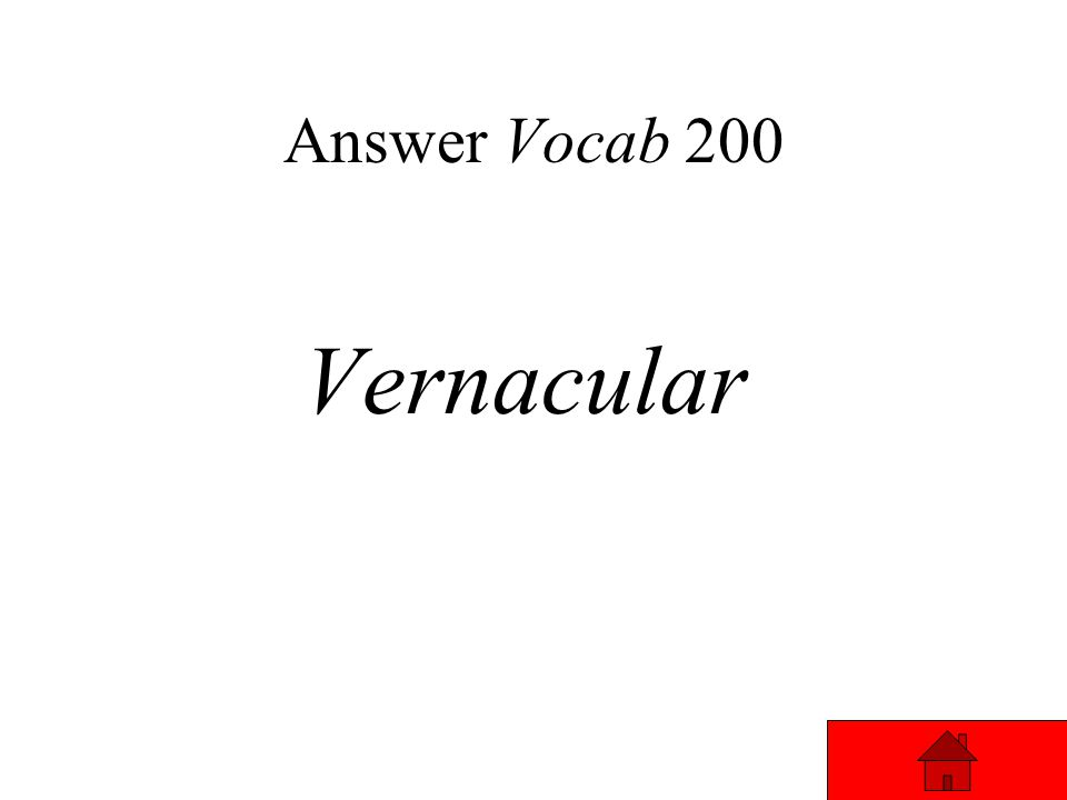 Vocab 200 The everyday language of people in a region or country. Answer