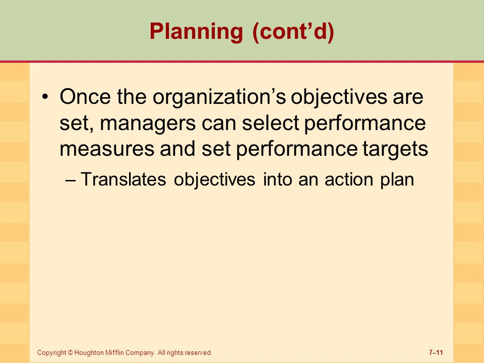 7–11Copyright © Houghton Mifflin Company. All rights reserved. Once the organization's objectives are set, managers can select performance measures an