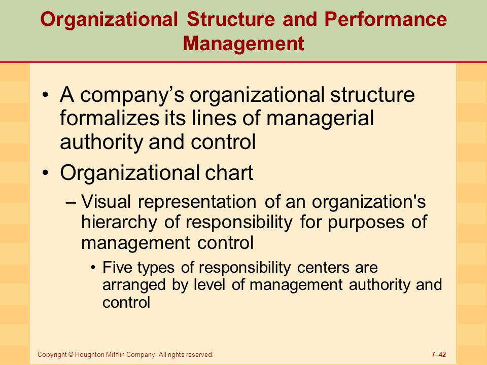 7–42Copyright © Houghton Mifflin Company. All rights reserved. Organizational Structure and Performance Management A company's organizational structur