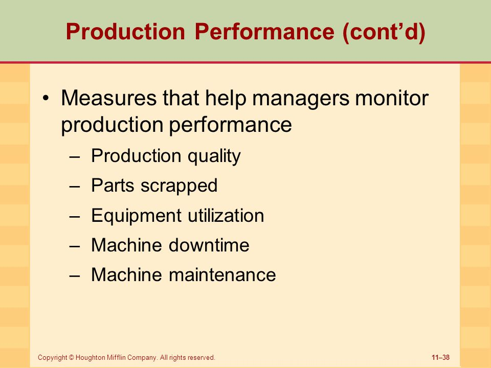 11–38Copyright © Houghton Mifflin Company. All rights reserved. Production Performance (cont'd) Measures that help managers monitor production perform