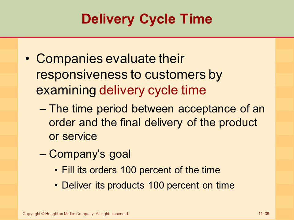 11–39Copyright © Houghton Mifflin Company. All rights reserved. Delivery Cycle Time Companies evaluate their responsiveness to customers by examining