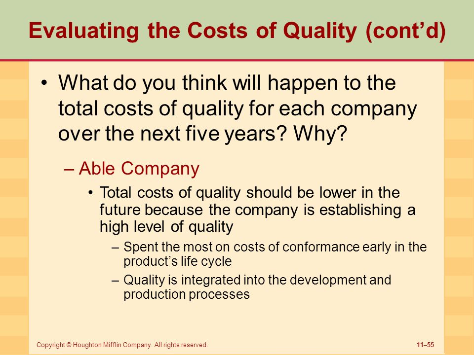 11–55Copyright © Houghton Mifflin Company. All rights reserved. Evaluating the Costs of Quality (cont'd) What do you think will happen to the total co