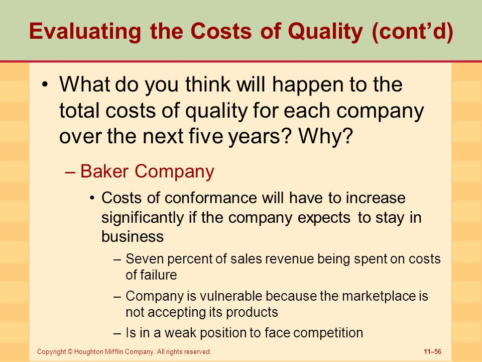 11–56Copyright © Houghton Mifflin Company. All rights reserved. Evaluating the Costs of Quality (cont'd) What do you think will happen to the total co