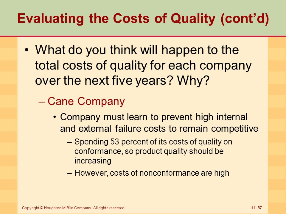11–57Copyright © Houghton Mifflin Company. All rights reserved. Evaluating the Costs of Quality (cont'd) What do you think will happen to the total co