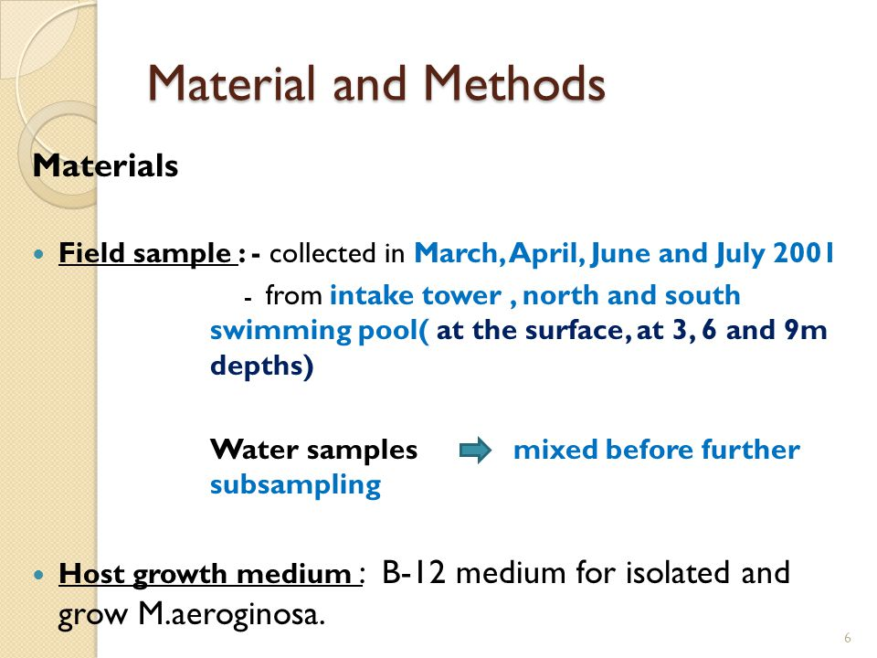 Methods 7 Material and Methods (con't) Isolating M.aeroginosa from Lake Baroon Calculate the growth and replication Collecting viruses from Lake Baroon Collect the virus from supernatant M.aeroginosa growth and generation time assaysDetermining viral numbers
