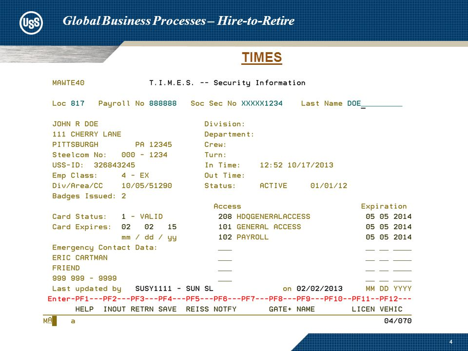 5 Global Business Processes – Hire-to-Retire TIMES