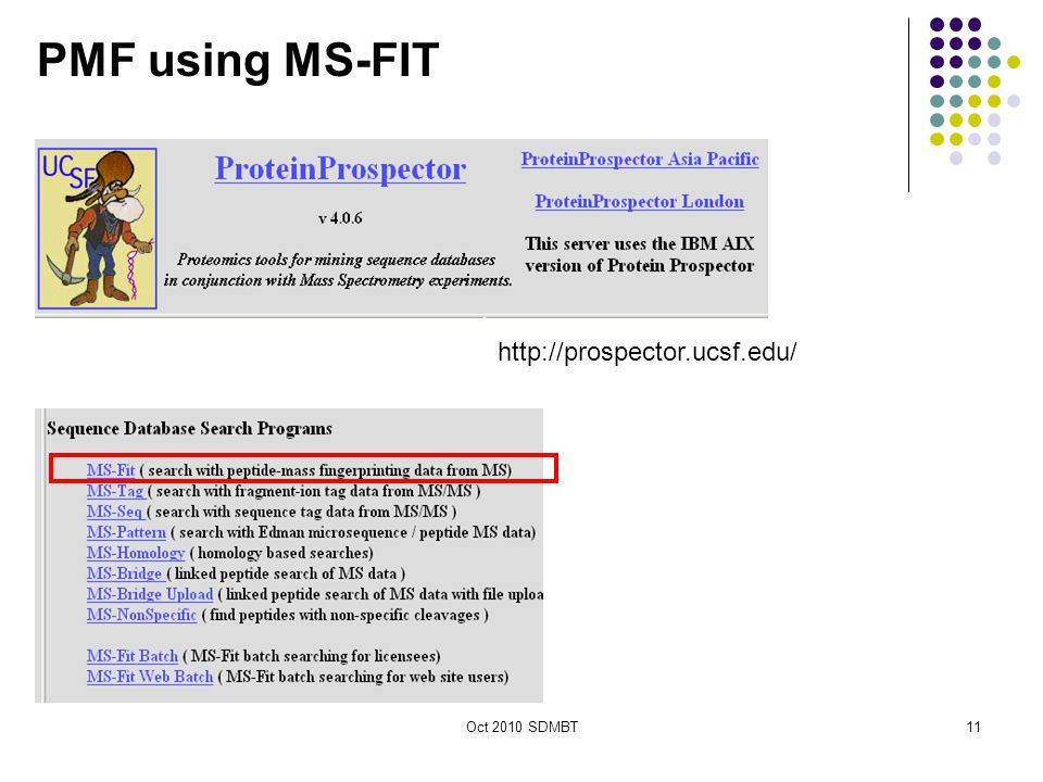 Oct 2010 SDMBT PMF using MS-FIT http://prospector.ucsf.edu/ 11