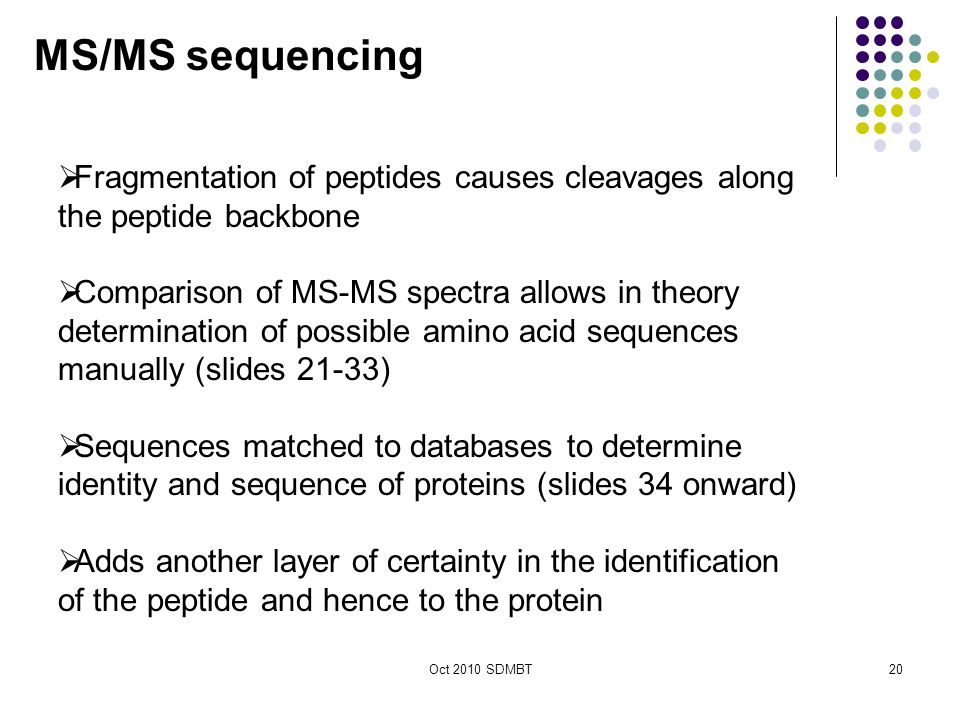 Oct 2010 SDMBT  Fragmentation of peptides causes cleavages along the peptide backbone  Comparison of MS-MS spectra allows in theory determination of possible amino acid sequences manually (slides 21-33)  Sequences matched to databases to determine identity and sequence of proteins (slides 34 onward)  Adds another layer of certainty in the identification of the peptide and hence to the protein MS/MS sequencing 20