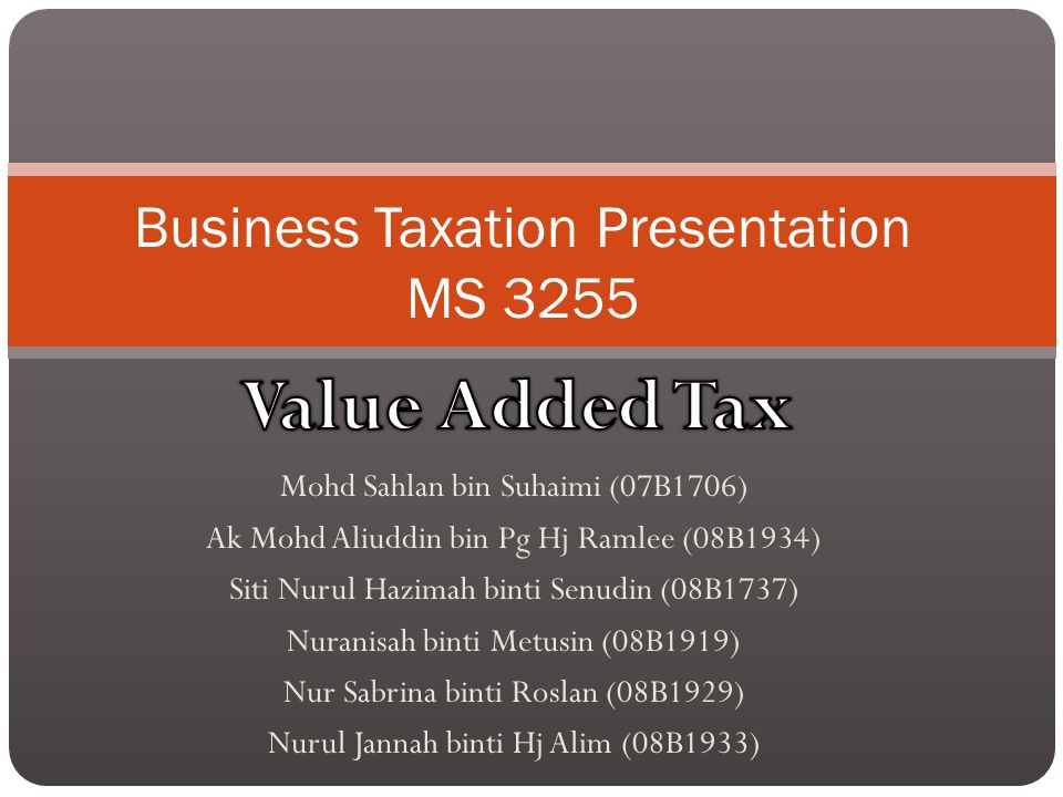 Outline Introduction – Definition of VAT The scope and nature of VAT Types of supply VAT registration compulsory Voluntary registration Recovery of pre registration input Deregistration VAT on sale of a business The time of supply The value of a supply Recovery of input VAT Relief for impaired debts Example