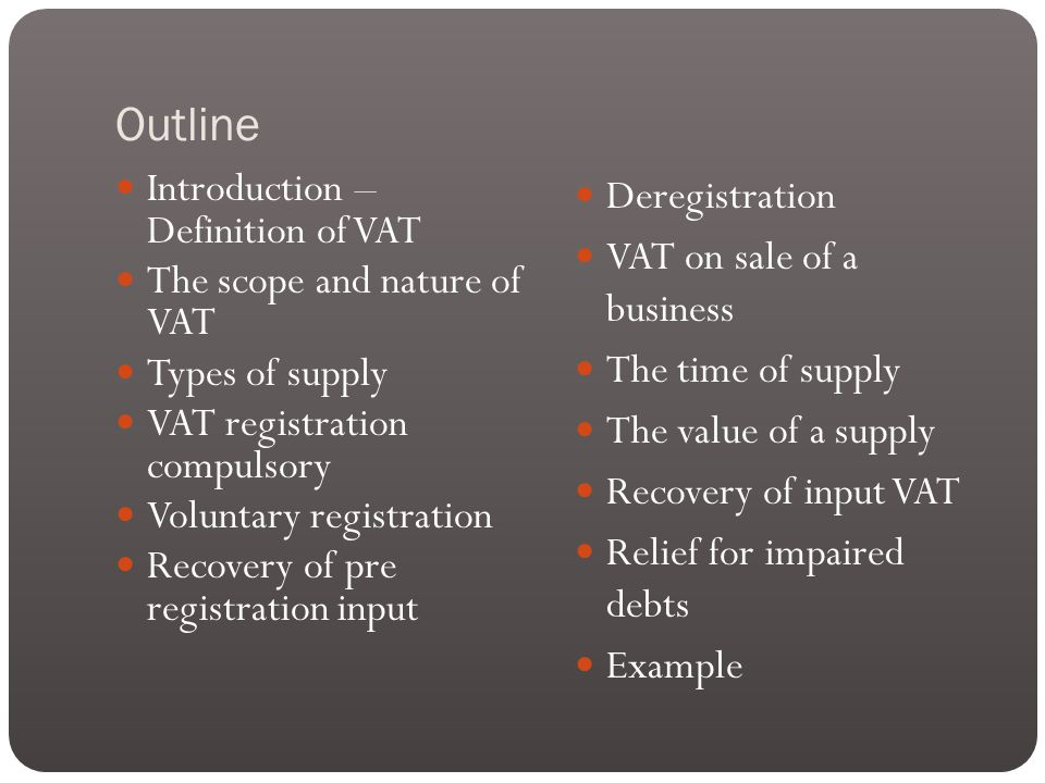 Rates of VAT Taxable supplies are charged to VAT at onf of three rates: - Zero rate – 0% - Standard rate - 17.5% (default rate) - Reduce rate – 5%