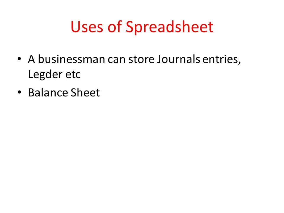 Uses of Spreadsheet A businessman can store Journals entries, Legder etc Balance Sheet