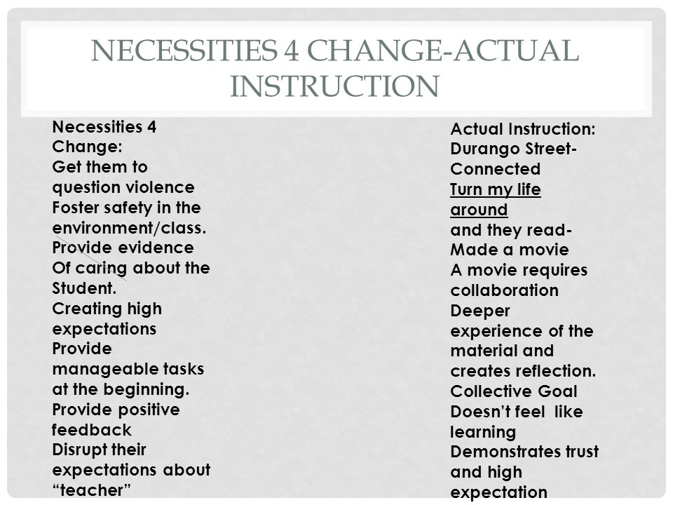 NECESSITIES 4 CHANGE-ACTUAL INSTRUCTION Necessities 4 Change: Get them to question violence Foster safety in the environment/class.