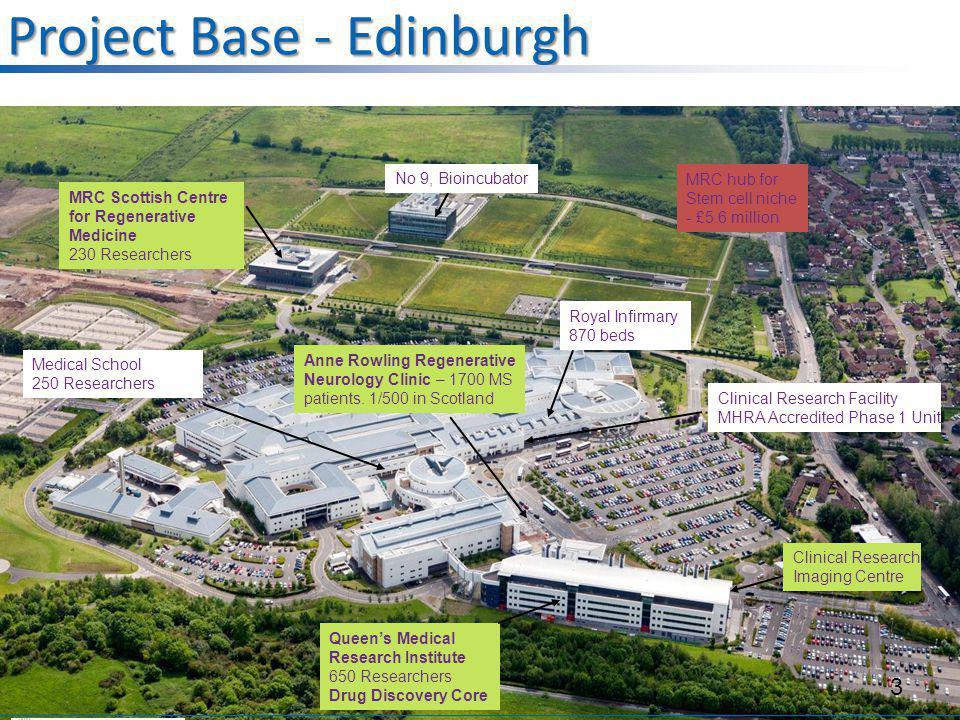 Project Base - Edinburgh No 9, Bioincubator MRC Scottish Centre for Regenerative Medicine 230 Researchers Queen's Medical Research Institute 650 Resea