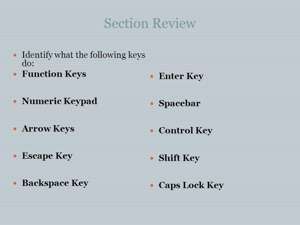 Section Review Identify what the following keys do: Function Keys Numeric Keypad Arrow Keys Escape Key Backspace Key Enter Key Spacebar Control Key Sh
