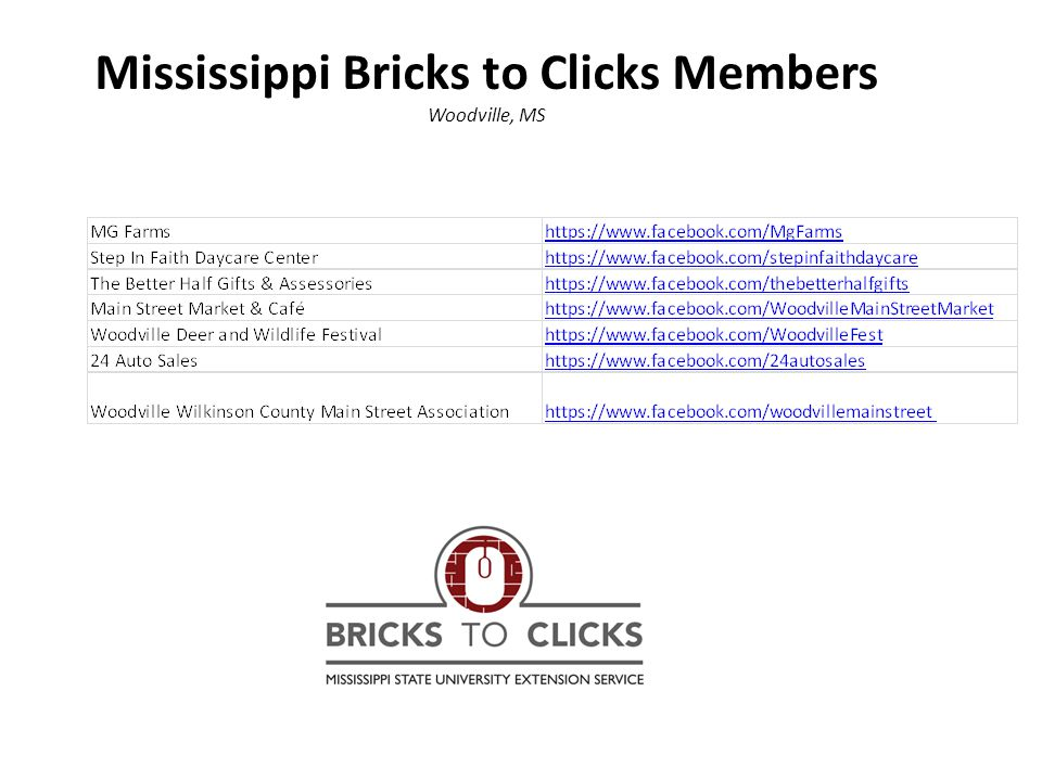 Mississippi Bricks to Clicks Members Woodville, MS