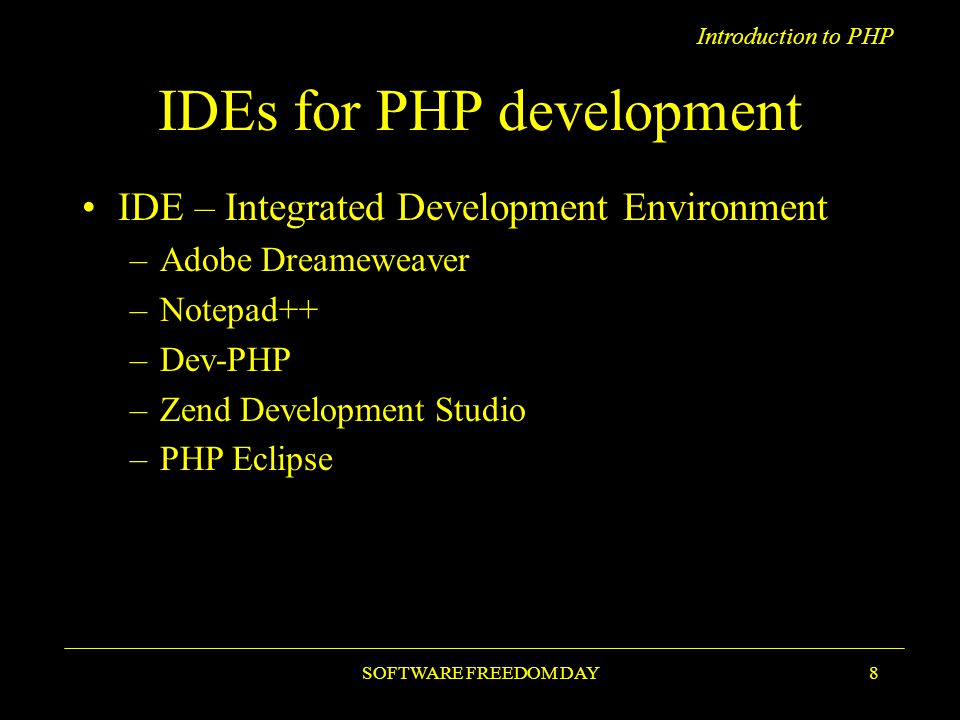 Introduction to PHP PHP Trend SOFTWARE FREEDOM DAY9
