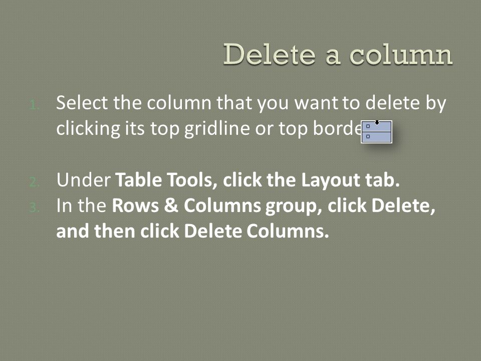 1.Select the column that you want to delete by clicking its top gridline or top border.