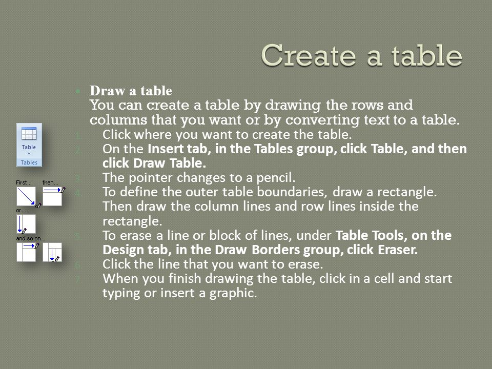 Draw a table You can create a table by drawing the rows and columns that you want or by converting text to a table.