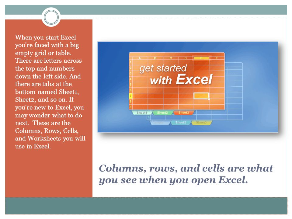 www.alterNativeMedia.biz© 2008 aNm – Michael Sheyahshe Columns, rows, and cells are what you see when you open Excel. When you start Excel you're face