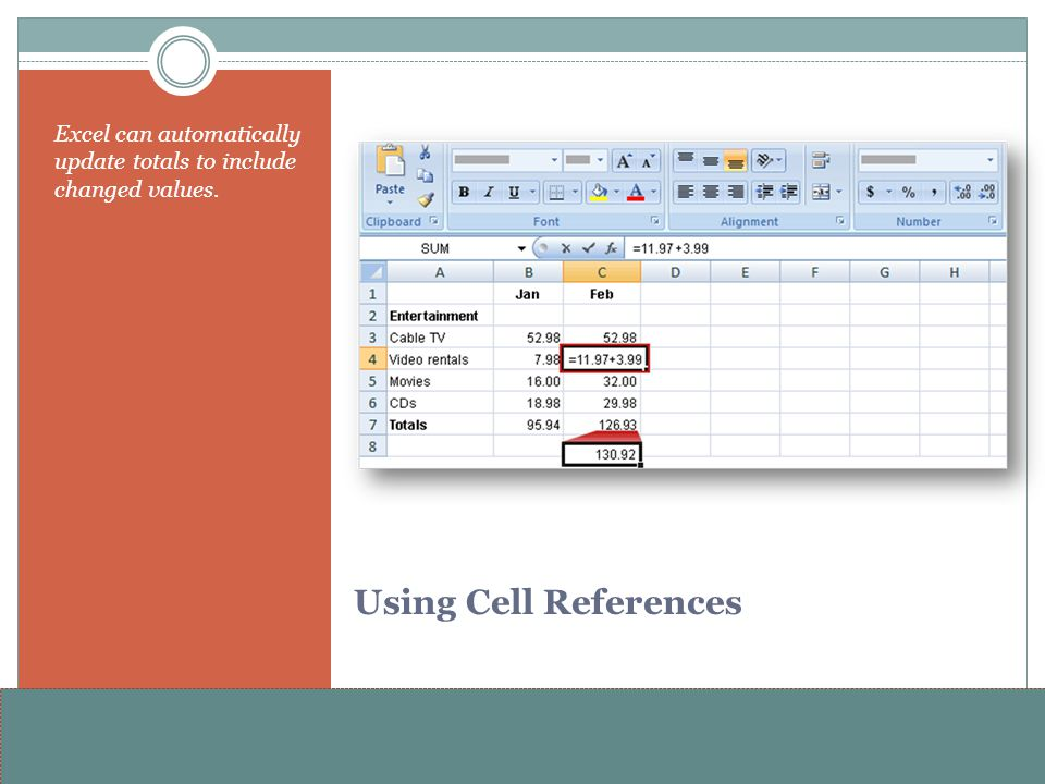 www.alterNativeMedia.biz© 2008 aNm – Michael Sheyahshe Using Cell References Excel can automatically update totals to include changed values.