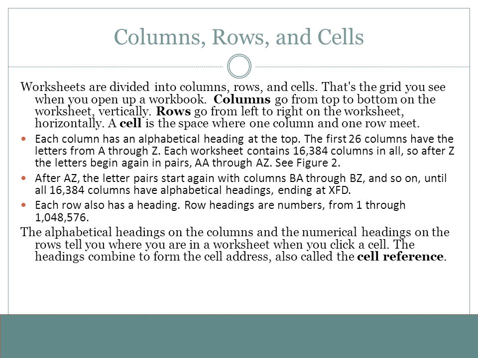 www.alterNativeMedia.biz© 2008 aNm – Michael Sheyahshe Columns, Rows, and Cells Worksheets are divided into columns, rows, and cells. That's the grid