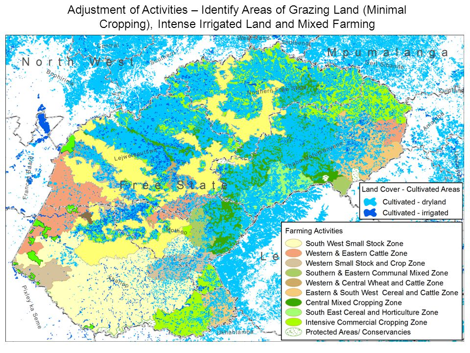 Adjustment of Activities – Identify Areas of Grazing Land (Minimal Cropping), Intense Irrigated Land and Mixed Farming