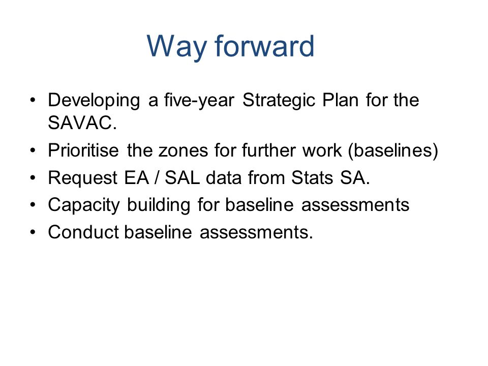 Way forward Developing a five-year Strategic Plan for the SAVAC.