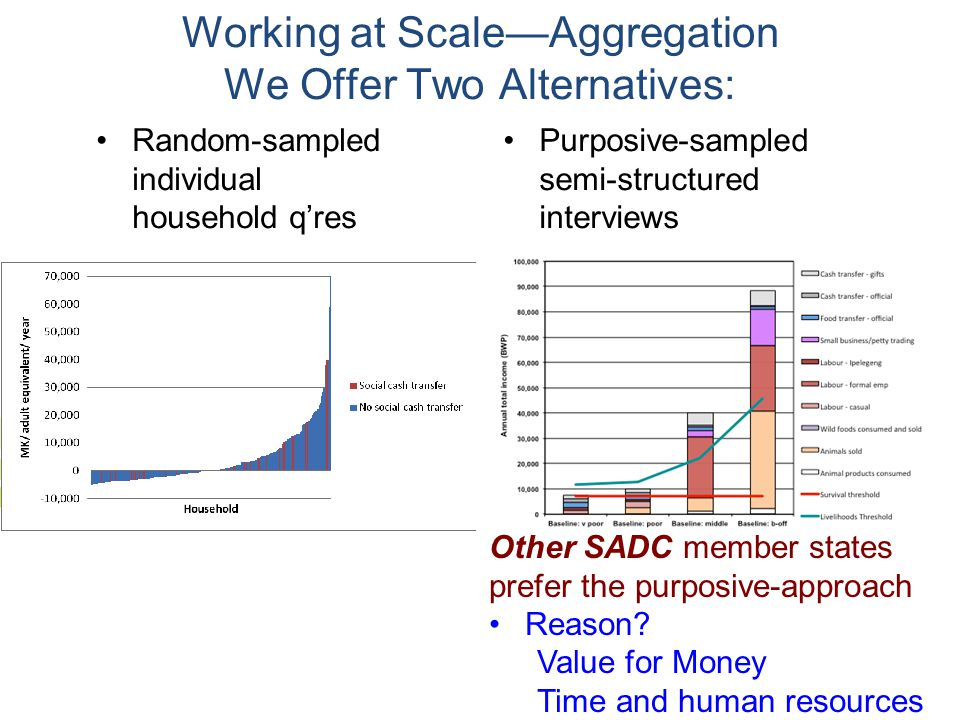 Random-sampled individual household q'res Purposive-sampled semi-structured interviews Working at Scale—Aggregation We Offer Two Alternatives: Other SADC member states prefer the purposive-approach Reason.